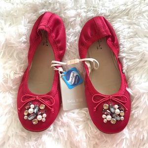 Zara Girls Red Jeweled Flats